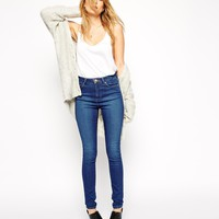 ASOS PETITE Ridley High Waist Ultra Skinny Jeans In Della Rich Blue Wash