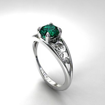Blue green tourmaline filigree ring, white gold engagement ring, unique, filigree engagement, tourmaline solitaire, green, custom, vintage