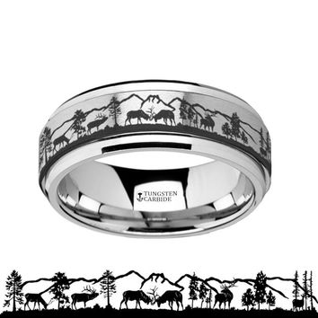 Animal Landscape Scene - Deer Stag Mountain Range - Spinning Tungsten Ring - Spinner Laser Engraved  - Tungsten Carbide Wedding Band - 8mm
