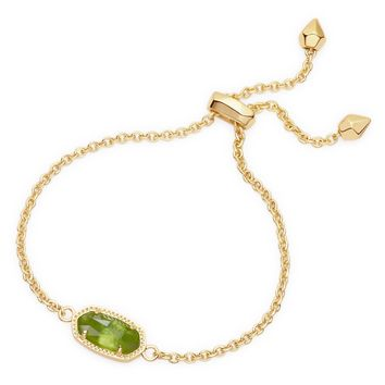 Kendra Scott Elaina Peridot Illusion Gold Adjustable Bolo Bracelet