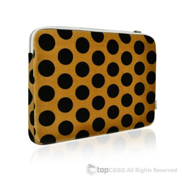 Black Polka Dot Print on Brown Laptop Sleeve Bag Cover for All 13-Inch Laptop Notebook / Apple Macbook / Ultrabook / Chromebook