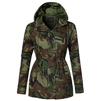 LE3NO Womens Lightweight Drawstring Waist Camo Safari Military Anorak Hoodie Jacket