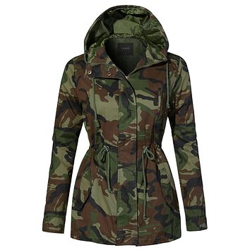 Lightweight Drawstring Waist Camo Safari Military Anorak Hoodie Jacket