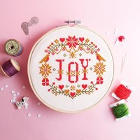 Christmas gift - Cross Stitch KIT - JOY in the X'mas Floral Special Edition -Modern Folk Xmas Love Sweet Home Floral Xmas