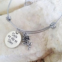 Bangle - Bracelet - Disney - Beauty and the Beast - Hand Stamped - Stamped Jewelry - Tale as old as Time - Stocking Stuffer - Christmas Gift