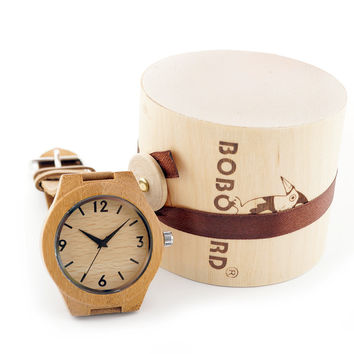Wood Handmade Item Nature Bamboo Wood Watch for Women Wooden Wristwatch With Genuine Leather Straps Paper Gift Box