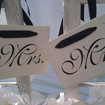 Mr. and Mrs. wooden sign set