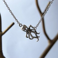 Sweet and Simple Silver Octopus Necklace by EnchantedLeaves