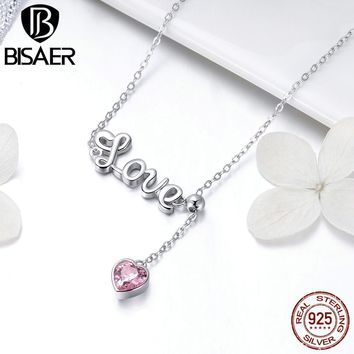BISAER Wedding 925 Sterling Silver Letter Love Pendant Pink Heart Necklace For Women Sterling Silver Jewelry Collar ECN288