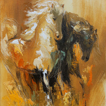 Couple, giclee canvas print of original oil painting,horses,palette knife,fine art print