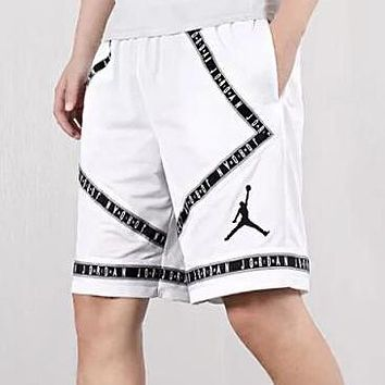Air Jordan Print Men Women Sports Running Basketball Shorts White