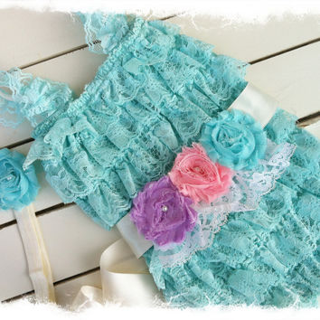 EASTER Aqua PETTI ROMPER with Shabby Chic Headband and Sash-Girls 1st Birthday Outfit-Lace romper with Matching Headband
