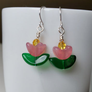 Flower Earrings Tulip Flower earrings  Green and pink earrings glass flower
