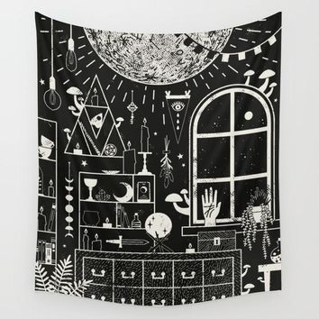 The Magician's Moon Fabric Wall Tapestry