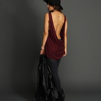 Burgundy Cowl Back Tank Top