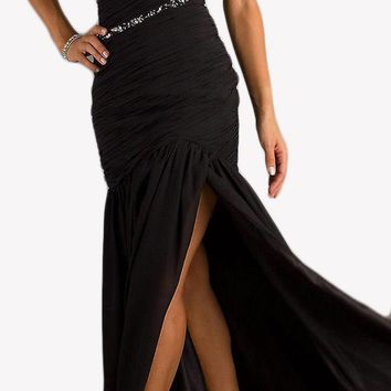 CLEARANCE - Black Tie Event Black Formal Gown One Shoulder Side Slit Pleating (Size Small)
