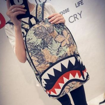 Shark Mouth Fashion Women Men New Cartoon Double Shoulder Bag Travel Backpack Personalized Canvas School Bag-1