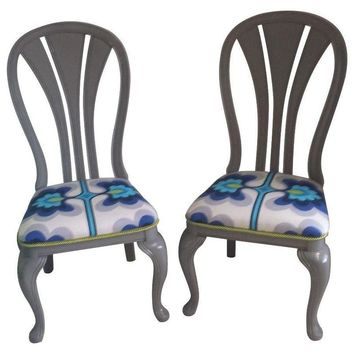 Pre-owned Retro Floral Print Gray Accent Chairs - A Pair