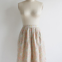 Vintage 60s Dainty Floral Print Cotton Pleated Full Skirt | Small 2 4
