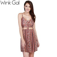 Wink Gal Beach Style Mini Dress Loose Floral Printed Women Dress Summer Casual Sleeveless V-neck Boho Party Dresses 3134