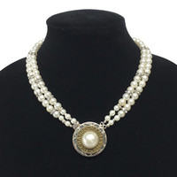 Two Strand Pearl Choker Necklace with Authentic Chanel Pearl Clasp