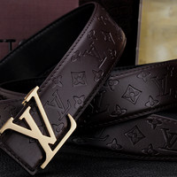 Louis Vuitton LV  Men Fashion Smooth Buckle Belt Leather Belt