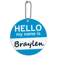Braylen Hello My Name Is Round ID Card Luggage Tag