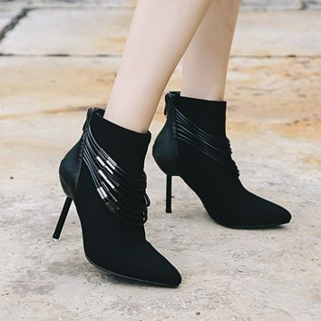 Pointed Tod Chain Decorate High Stiletto Heels Short Boots