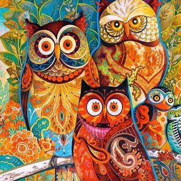 Frameless oil painting by numbers paint by number for home decor oil picture painting 4050 owl family
