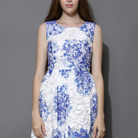 Blue Ceramic Embroidered Mesh Dress Blue