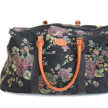 Vintage large floral revival GITANO overnight carry on duffle bag / black fabric suitcase