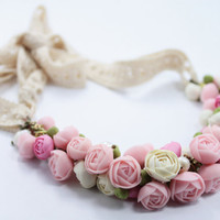 Pastel Pink Flower Necklace, Wedding Necklace, Jewelry handmade