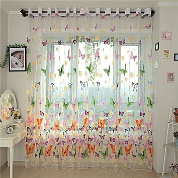 New Design Beautiful Window Curtain Large Butterfly Print Screens
