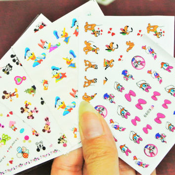5 sheets Mickey Mouse and Friends water Nail Decal, Minnie, Pluto, Daisy Duck, Pink Bow nail sticker, Donald Duck, Mickey Kissing Minnie