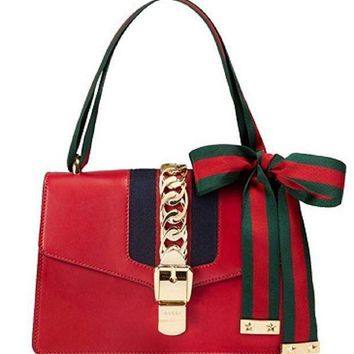 DCCKUG3 Gucci Women's Red Leather Inclined Shoulder Bag