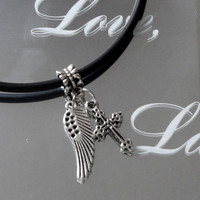 Silver Angel Wing Necklace, Cross, Heart Charm -Silver Jewelry. Memorial, Faith, Everyday W/ Black Cord Necklace