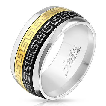 Black & Gold IP Maze Dual Spinner Stainless Steel Ring