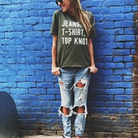 Jeans, T-Shirt, Top Knot Graphic Tee - Unisex SM-XL