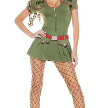 Green Patchwork Zip Pocket Detail Lady Army Costume