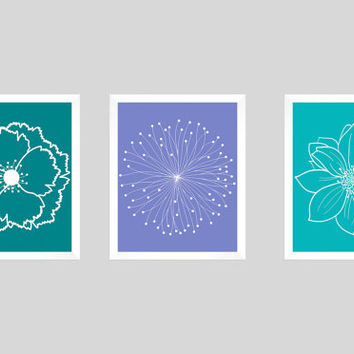 Set of 3 White Flower Blossoms on Teal Periwinkle Turquoise Prints CUSTOM COLORS Modern Art Prints Nursery Decor Colors Modern prints 8x10
