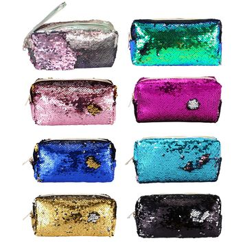 New High Quality Glitter Mermaid Sequins Laser Cosmetic Bag Fashion Student Sequin Pencil Case Ladies Coin Purse Storage Bags