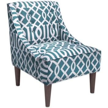 Skyline Furniture Swoop Arm Chair with Buttons in Integrate Teal