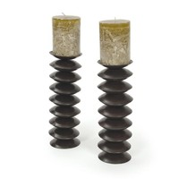 Pair Of Steel Disc Candlesticks