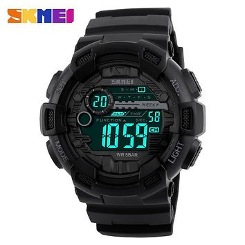 SKMEI Men Sports Watches 50M Waterproof Back Light LED Digital Watch Chronograph Shock Double Time F Wristwatches 1243