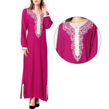 Muslim women Long sleeve hijab Dress maxi abaya jalabiya islamic women dress clothing robe kaftan Moroccan fashion embroidey1631