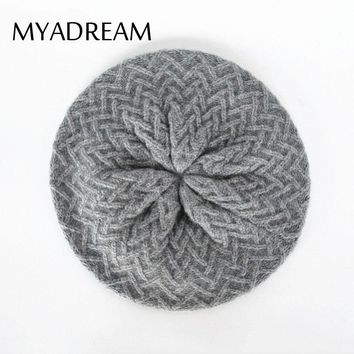 MYADREAM Wool Blend Beret Classic Floral Pattern Knitting Baret Hats for Women Elegant Winter Cap Boina Feminino