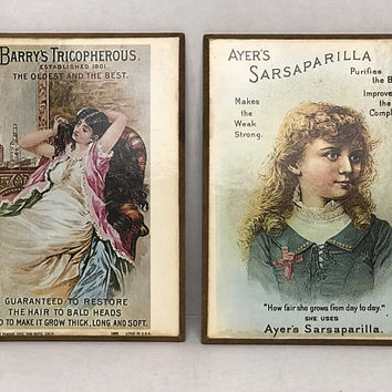 Victorian Beauty and Medicine Lithograph Ads / Mounted on Hickory Wood Plaques / Barry's Tricopherous / Ayer's Sarsaparilla / Printed 1970s