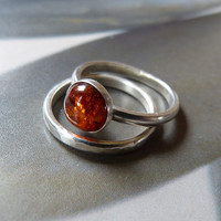 Amber Sterling silver stacking ring set, OOAK jewelry