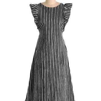 Vintage Marimekko Suomi Finland Black & White Stripes Jokapoika Jumper Dress Sz 38/10 1970s