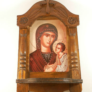 Handmade orthodox iconostasis wooden, pictures virgin Mary and Child